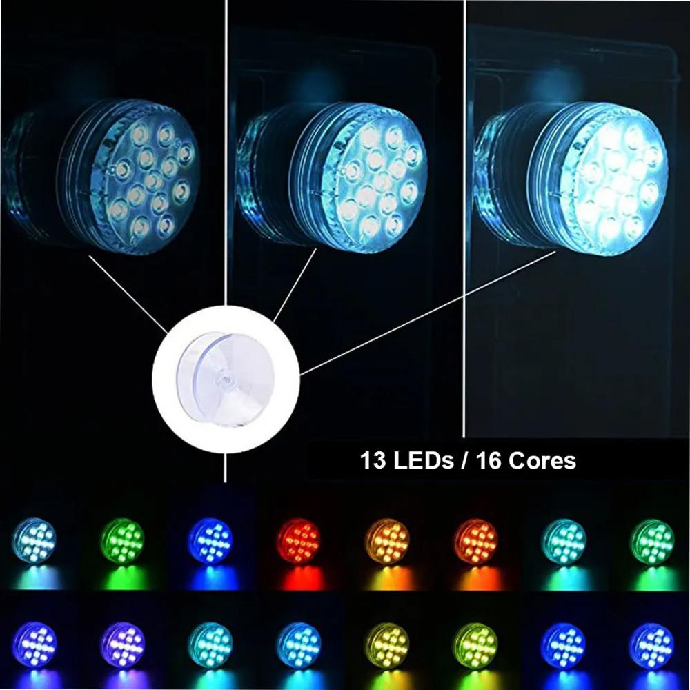 Luminaria LED RGB Controle Remoto 2 unidades Piscina Festa Evento Jardim Decoraçao Iluminaçao Prova d'Agua