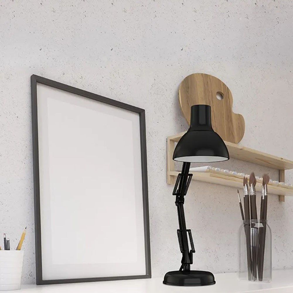 Luminaria Mesa Articulada garra  Escritorio regulavel 2 em 1 Leitura Base metal Articulavel