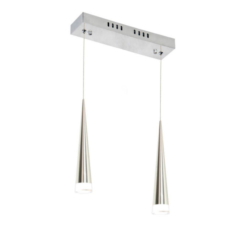 Luminaria Pendente Duplo Cromado LED 6W x 2 Bivolt Branco quente 3000k