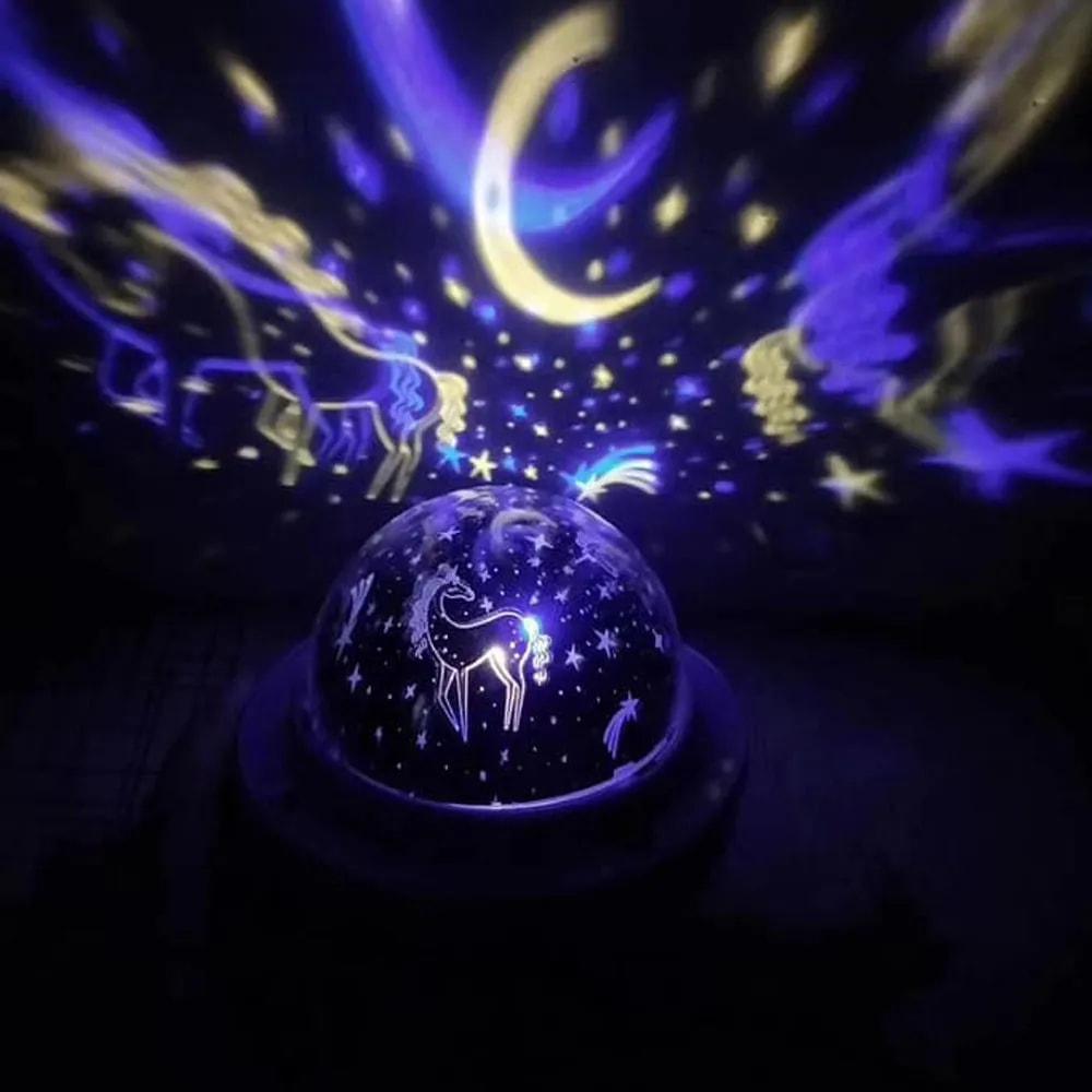 Luminaria Projetor Galaxia Criança Estrelas Ceu Lampada Decoraçao Iluminaçao Rotativa