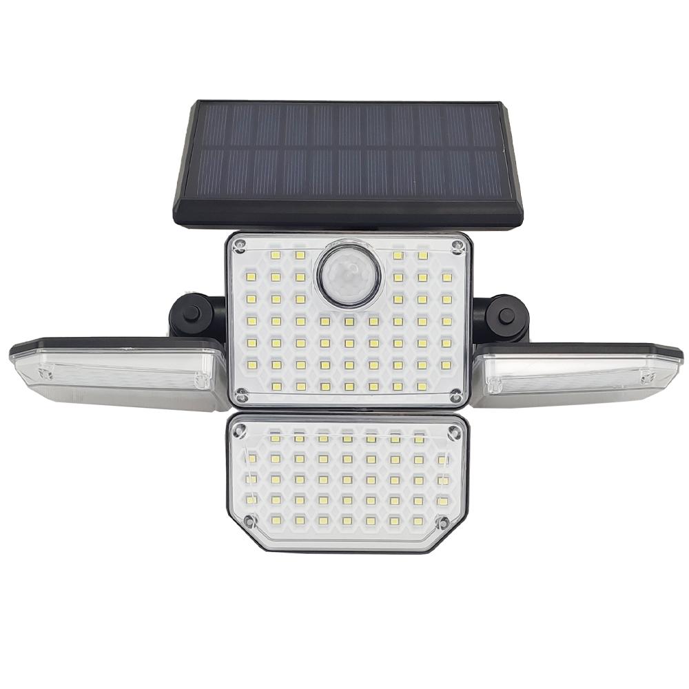 Luminaria Solar 360 Led 4 Cabeças Articulada 3 Modos Sensor de Proximidade