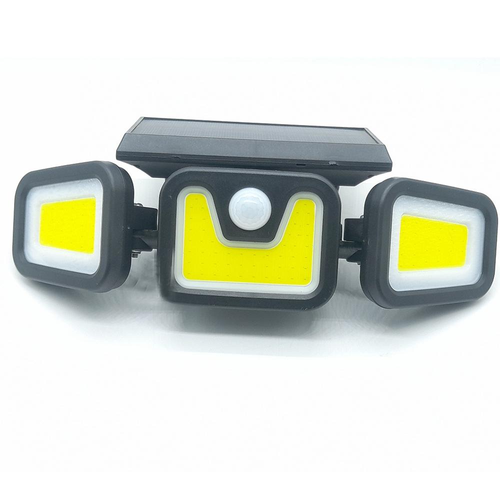 Luminaria Solar 3 Cabeças 103 leds Parede Sensor Movimento Ajustavel Giratoria