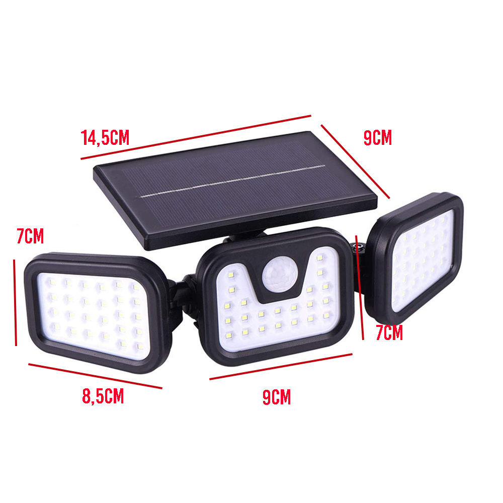 Luminaria Solar 74 leds 3 Cabeças Parede Sensor Proximidade Articuladas Ajustavel Giratoria