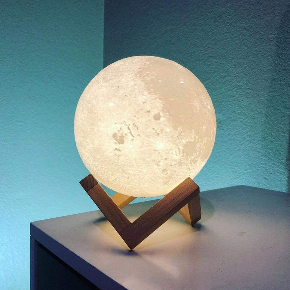 Luminaria Super Lua Cheia Abajur Touch de Mesa Iluminaçao LED Decoraçao USB RGB 3D