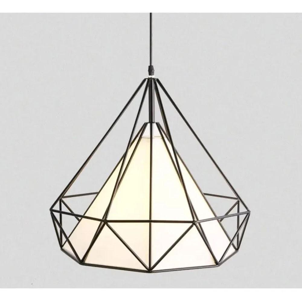 Lustre Luminaria Diamante Pendente Iluminação Luz Decoração Vintage Casa Pendulo Retro
