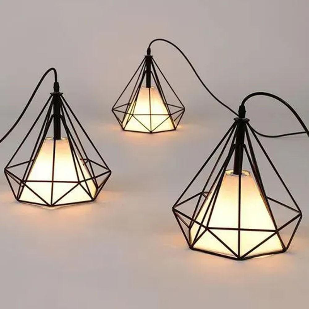 Lustre Luminaria Diamante Pendente Iluminação Luz Decoração Vintage Casa Retro Pendulo