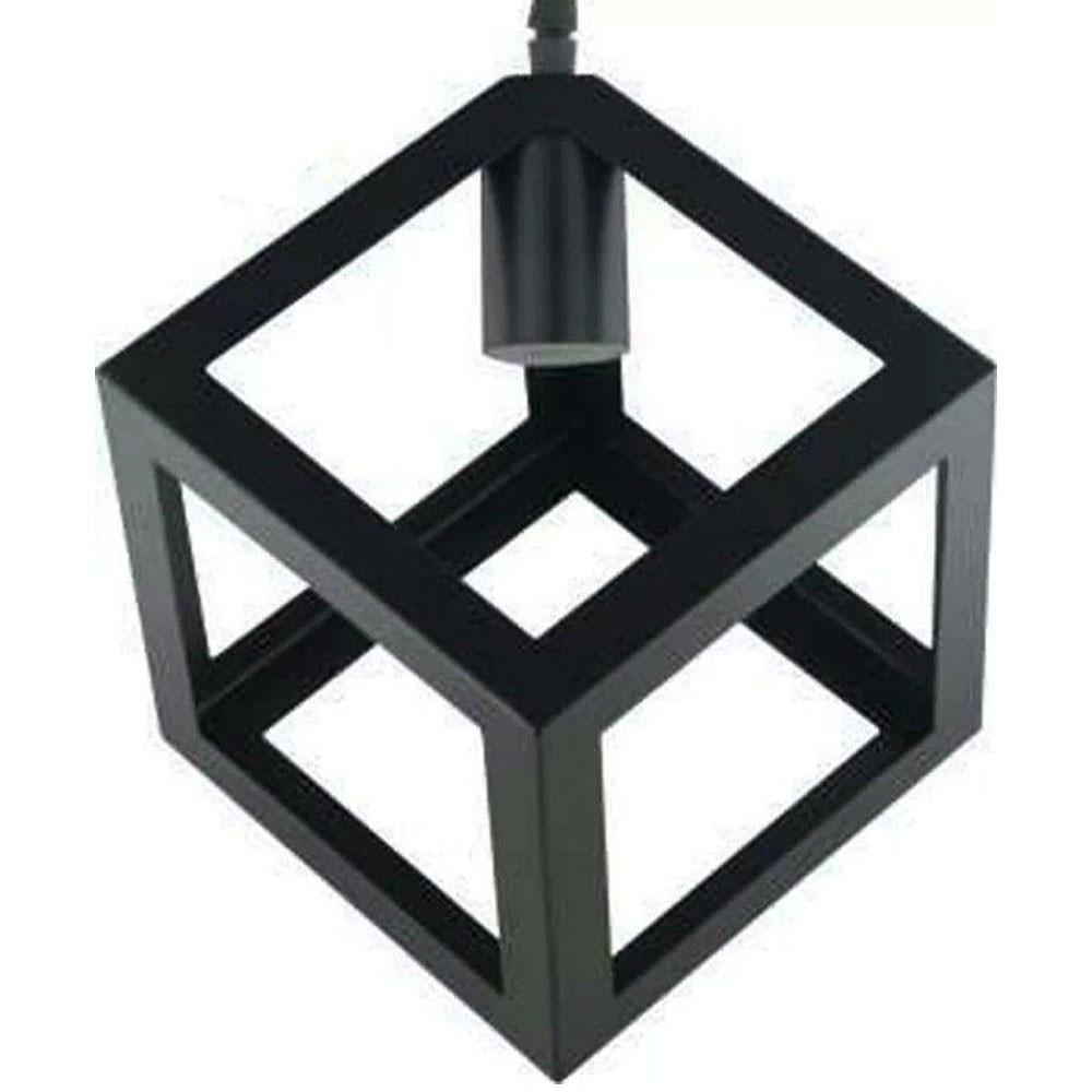 Lustre Luminaria Pendente Dado de Metal Decoração Iluminação Luz Casa Retro Vintage Pendulo