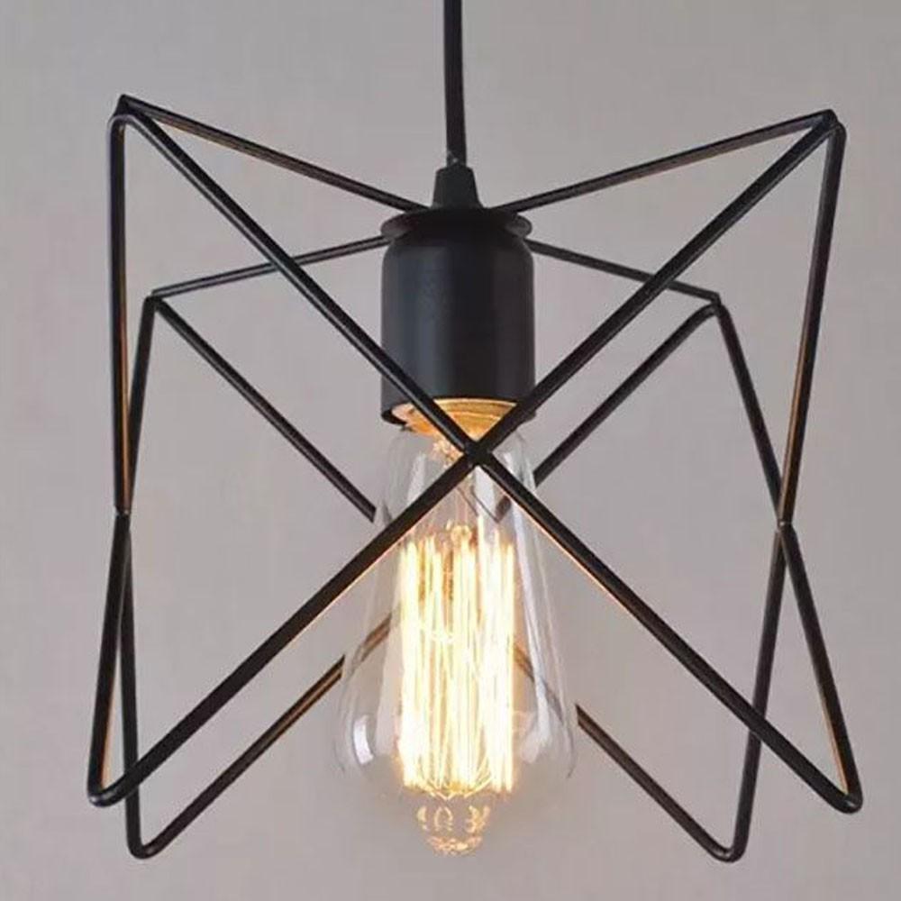 Lustre Luminaria Pendente Polígono Metal Decoração Casa Retro Vintage