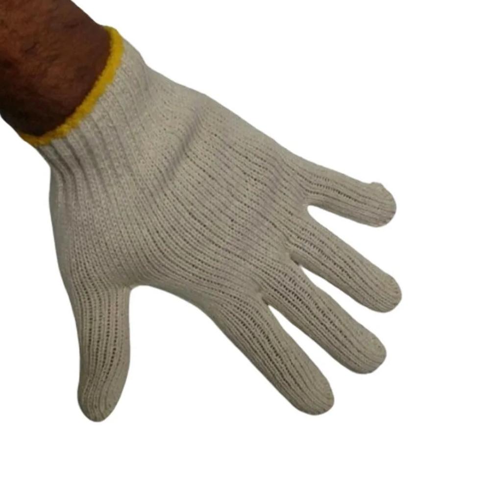 Luvas de Malha Tricotada Kit 200 Pares EPI Construção Obras segurança proteção Frio Reforçada