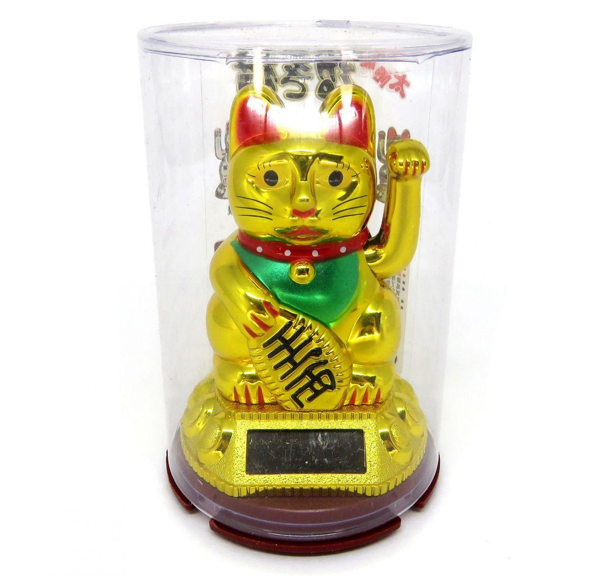 Manekineko energia Solar Dourado japones  Gato da Sorte Dourado dinheiro prosperidade