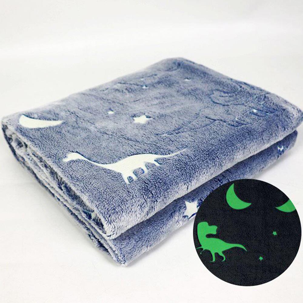 Manta Cobertor Infantil Mantinha Brilha no Escuro Florescente Microfibra Extra Macio Dinossauros