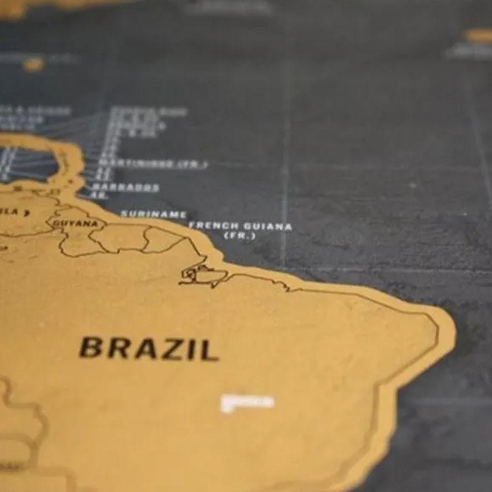 Mapa Mundi Raspar Viagens Raspadinha Scratch Map 80x60cm Quadro Presente