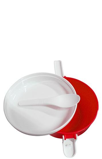 Marmita Com 2 Compartimentos Marmitex Para Microondas E Freezer Vermelho ( CA09113 )