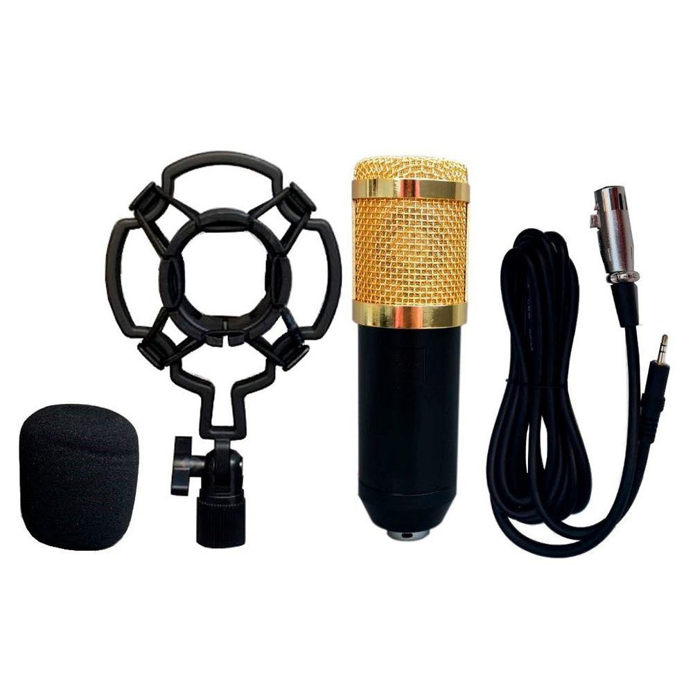 Microfone Condensador Profissional Youtube Estudio Gravaçao Notebook Celular