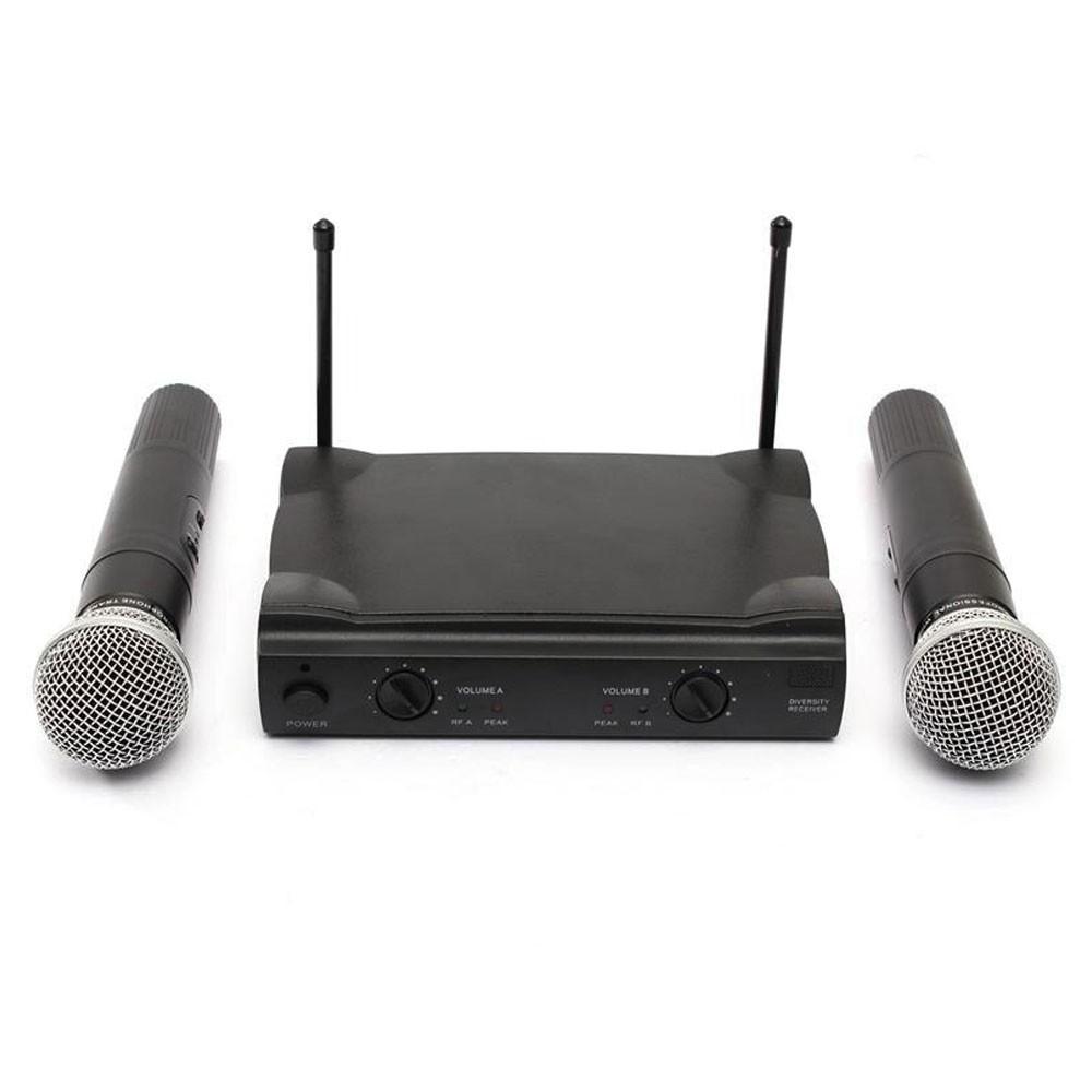Microfone Duplo Sem Fio Profissional Wireless Unidirecional Audio Receptor Karaoke Musica Palestras Eventos