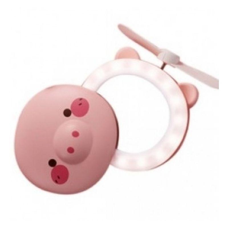 Mini Espelho Ventilador Porquinho USB luz LED recarregável Hc Fan Portátil