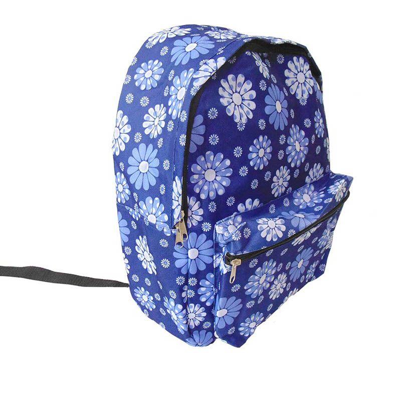 Mochila Feminina Escolar Azul Estampada Colegio
