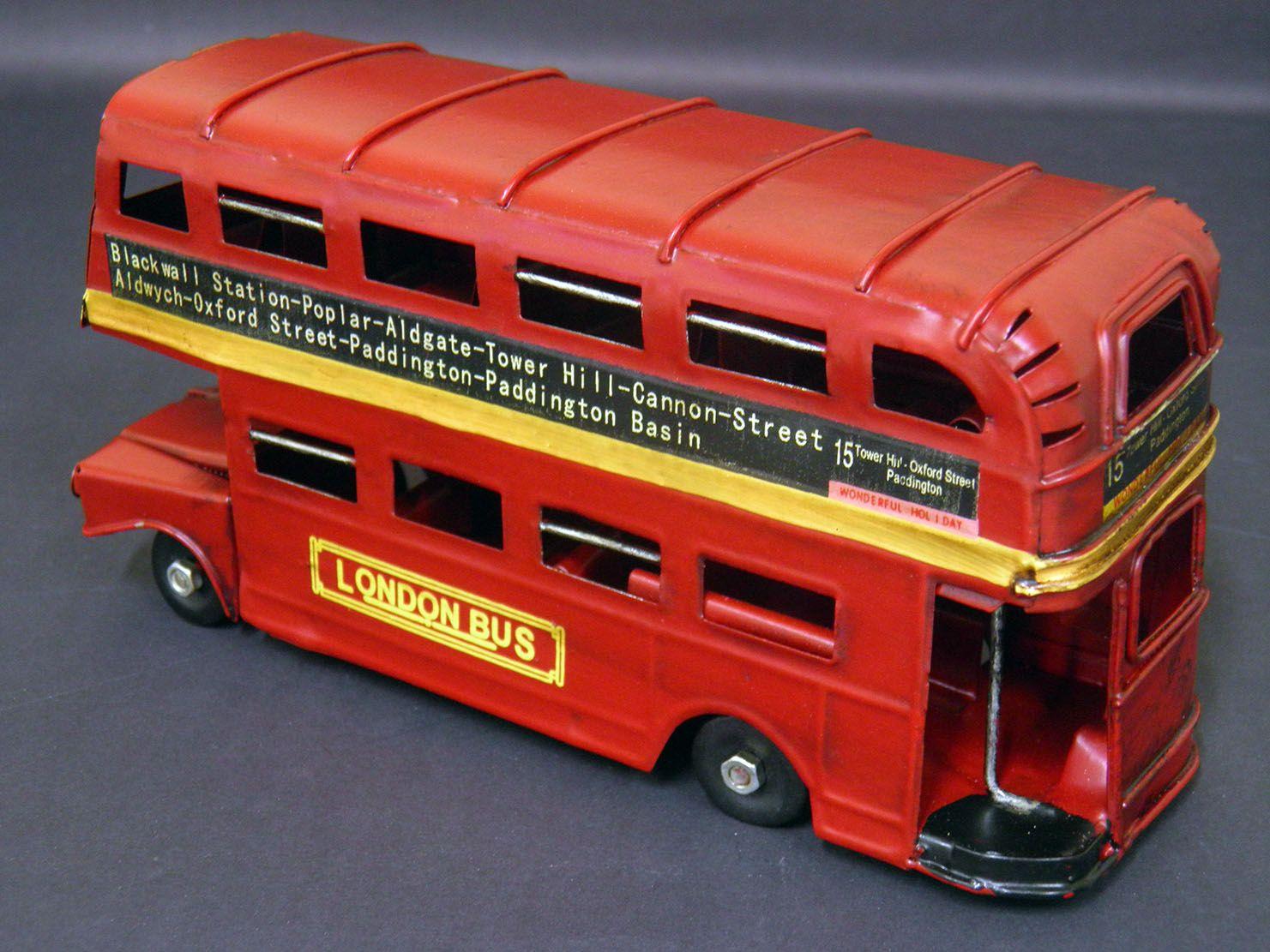 Onibus Decorativo Vintage Retro De Ferro London Vermelho (CJ-008)