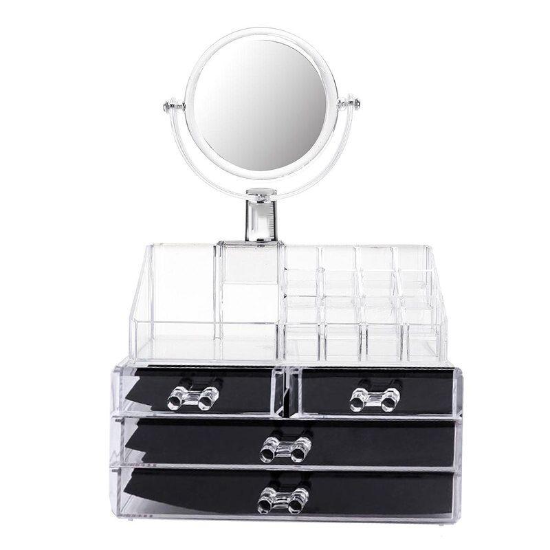 Organizador de Maquiagem Make Estojo Espelho Batom Gaveta Acrilico