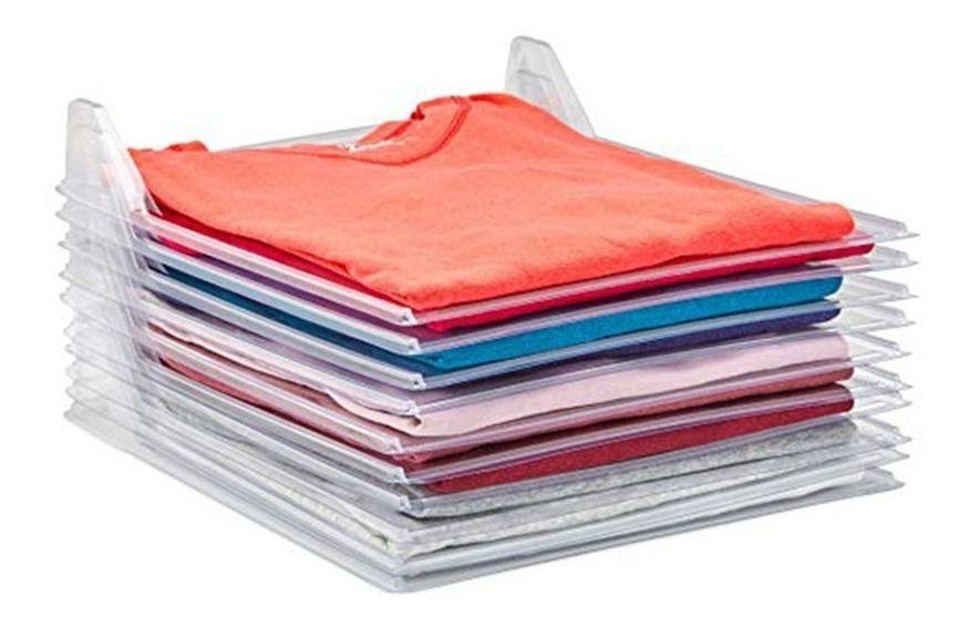 Organizador De Roupas Kit 10 Unidades Camiseta Camisa Guardar Dobrado 10 Divisorias