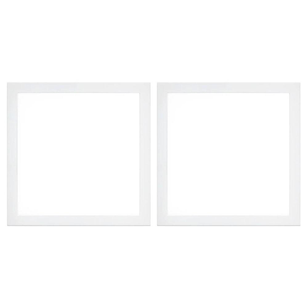 Painel Led Kit 2 unid Plafon Quadrado Luminaria Slim Bivolt Embutir Loja Iluminação Decoração