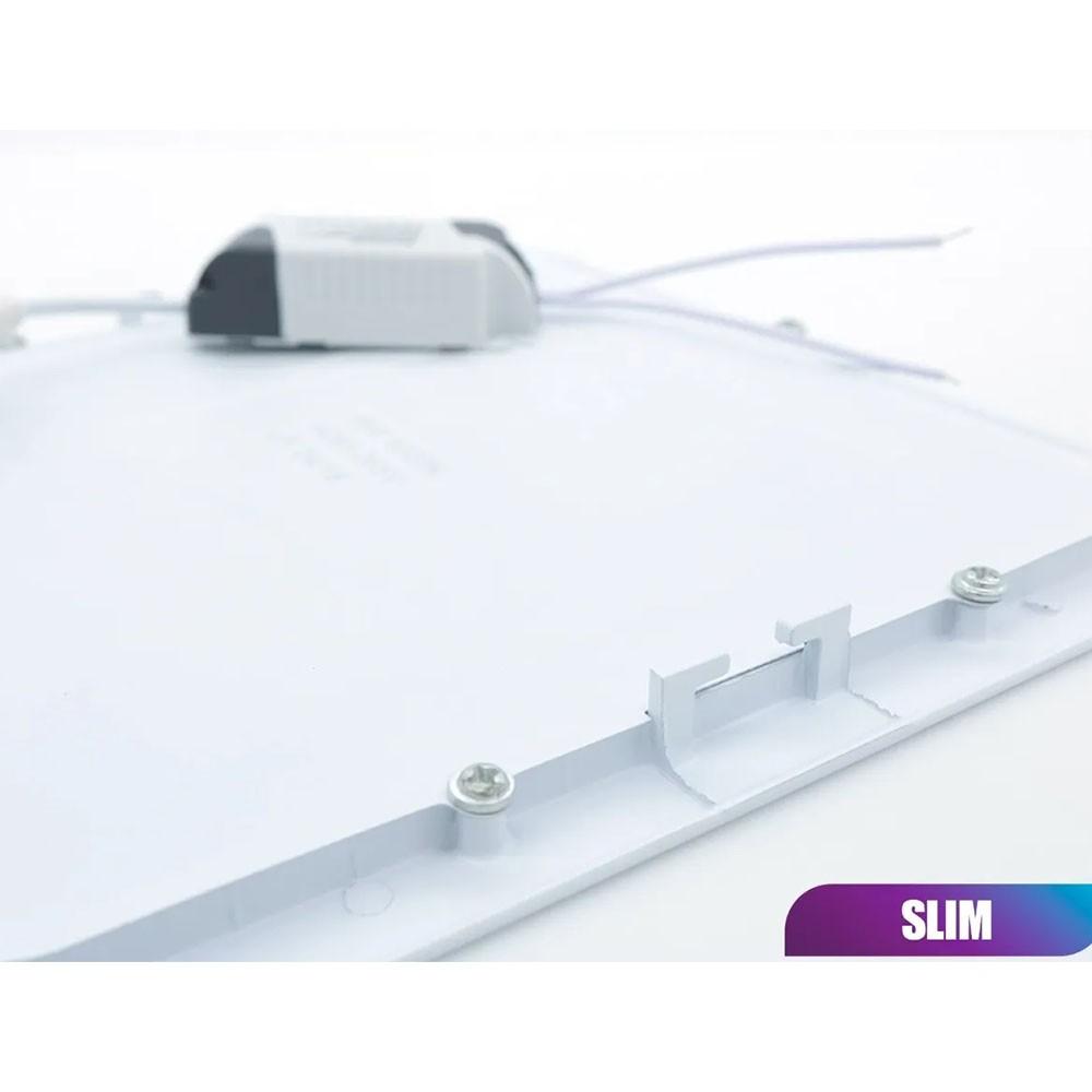 Painel Led 48w Kit 6 unid Plafon Slim Quadrado Luminaria Embutir Loja Iluminação Decoração