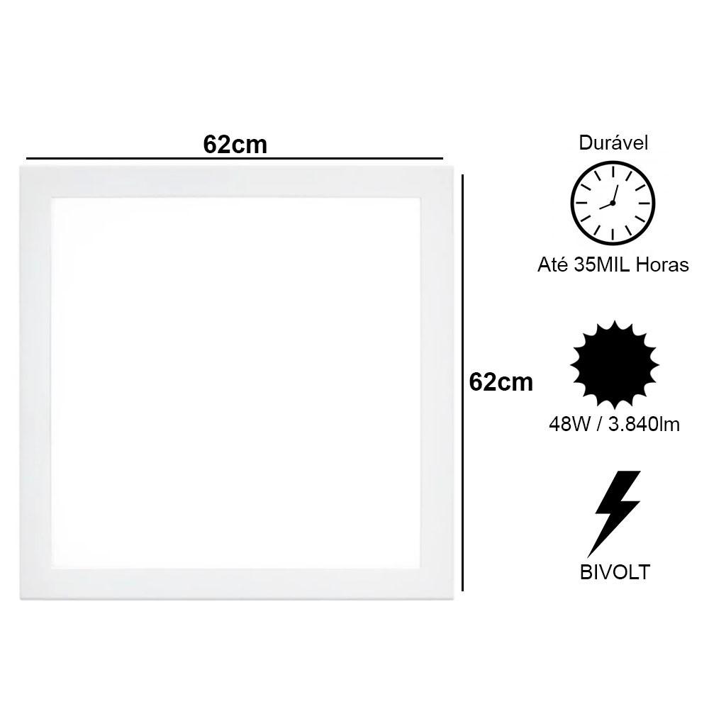 Painel Led Quadrado Plafon Luminaria Slim Bivolt Embutir Loja Iluminação Decoração