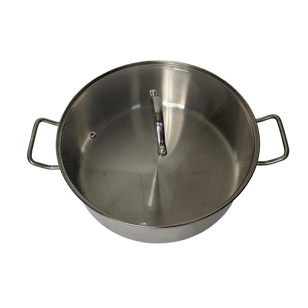 Panela Cozimento a Vapor peixes legumes Espagueteira aço inox 7 litros tampa de vidro