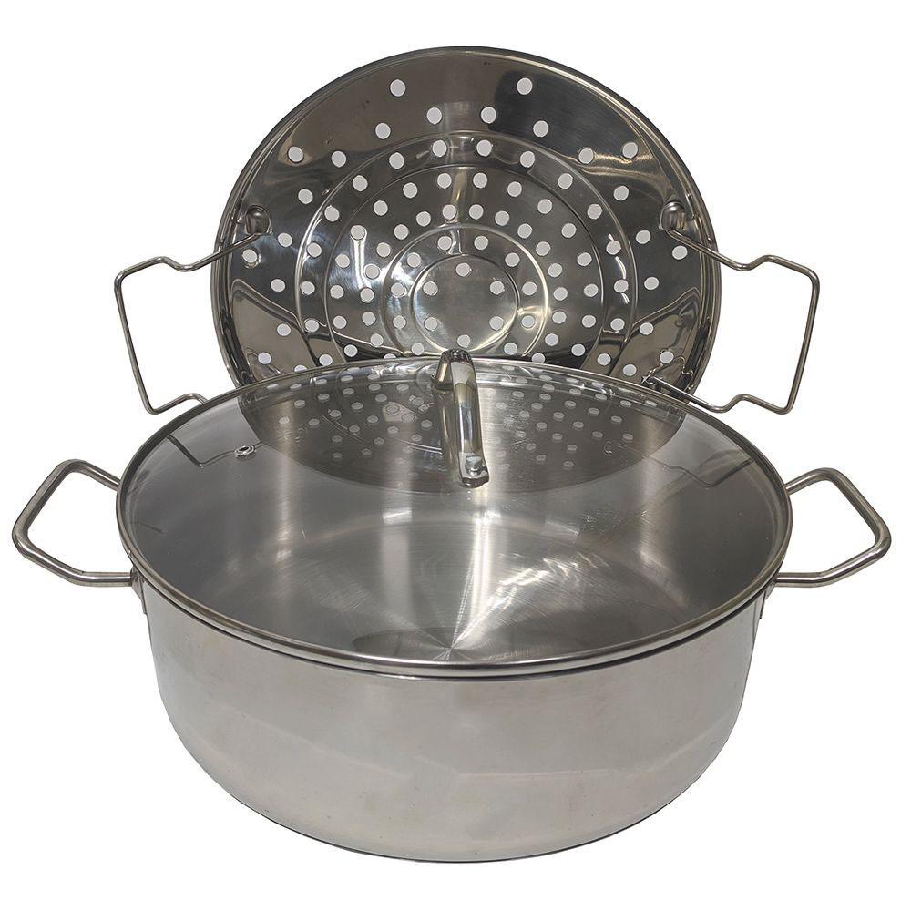 Panela Cozimento Vapor Cozinha Peixes Legumes Espagueteira 7L Tampa Vidro