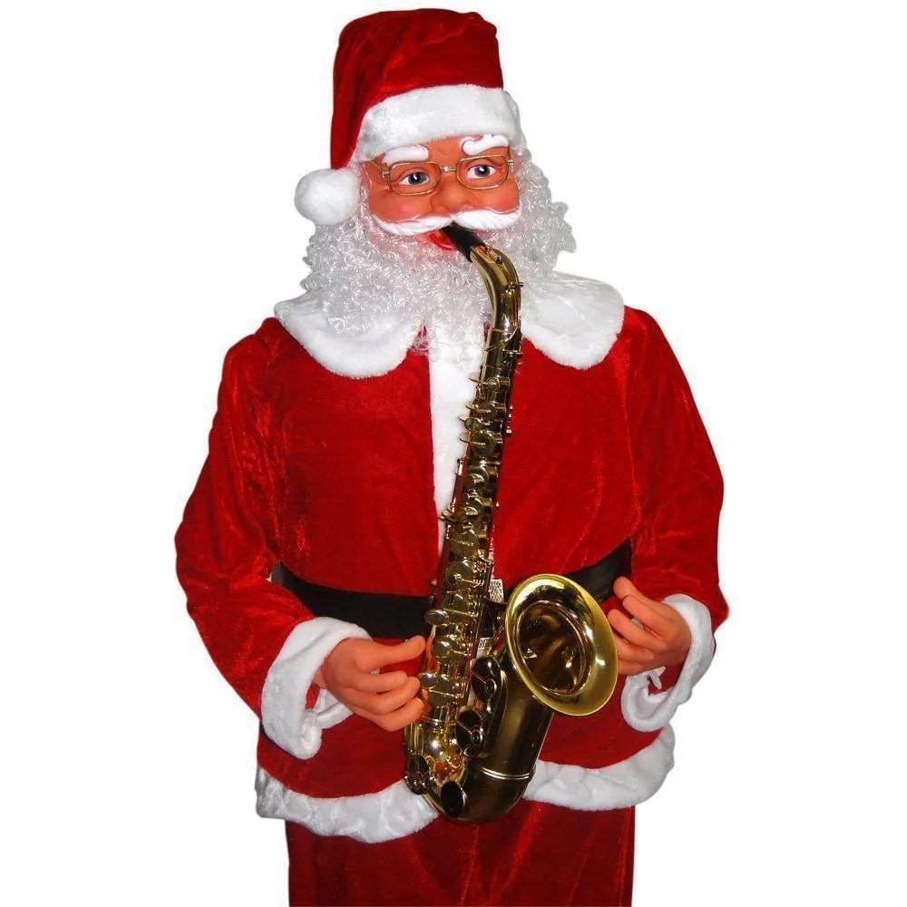 Papai Noel Gigante Natal Dança Sensor Toca Sax 1,80m Luxo Natalino