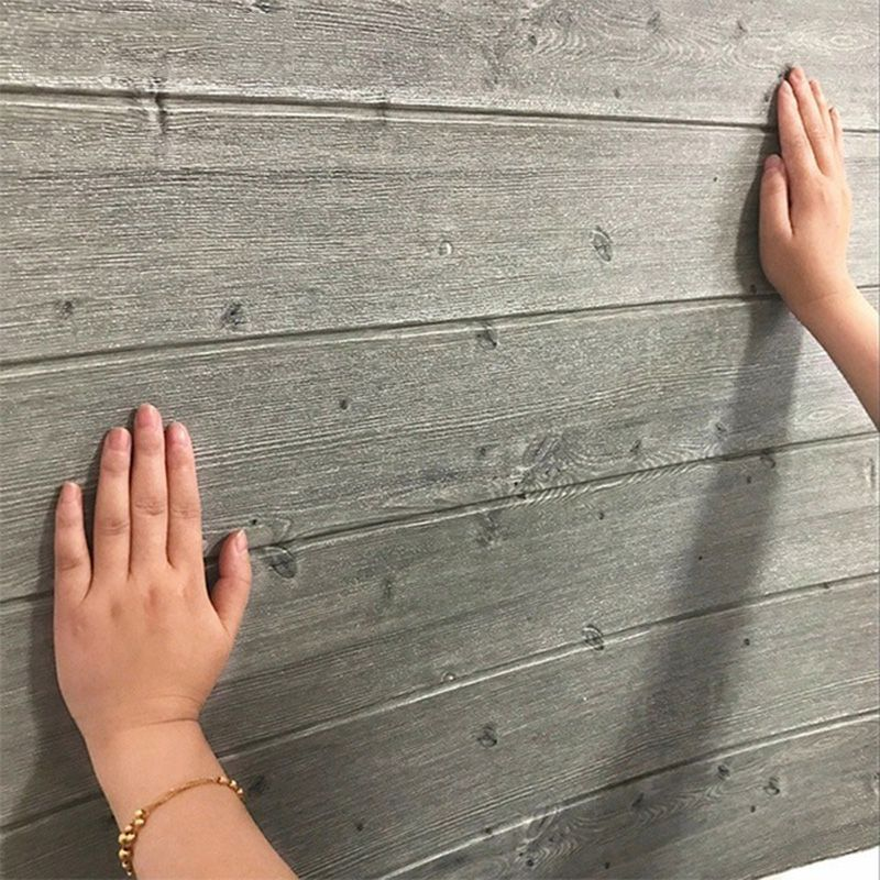Papel de Parede 3D Placa Painel Adesivo Madeira Cinza 70 x 70 cm Decoracao