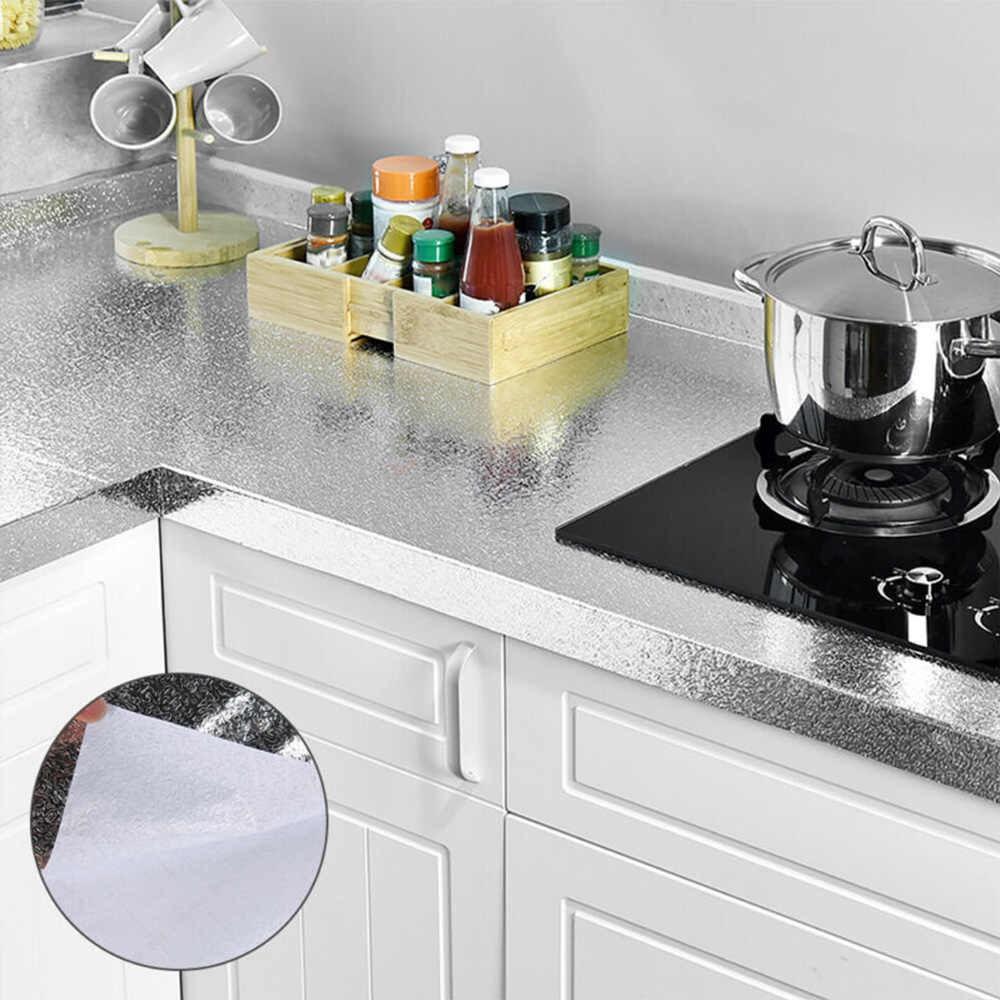 Papel de Parede Aluminio Folha Adesiva Cozinha Impermeavel Fogao Armario Metalico Autoadesivo