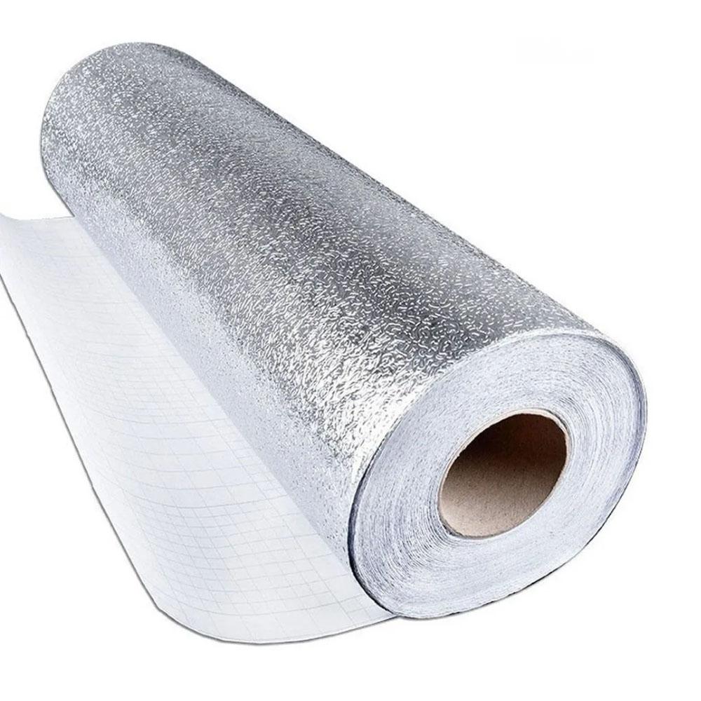 Papel de Parede Aluminio Impermeavel Folha Autoadesiva Cozinha Armario Fogao Adesiva Metalico