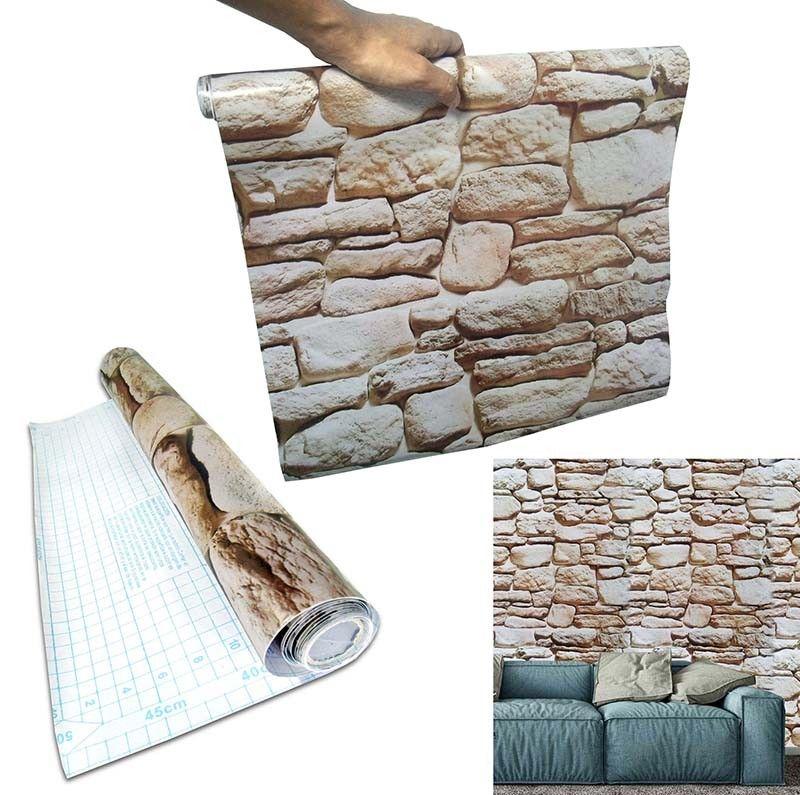 Papel de Parede Auto Adesivo Kit 5 Unid Pedra Canjiquinha Marmore