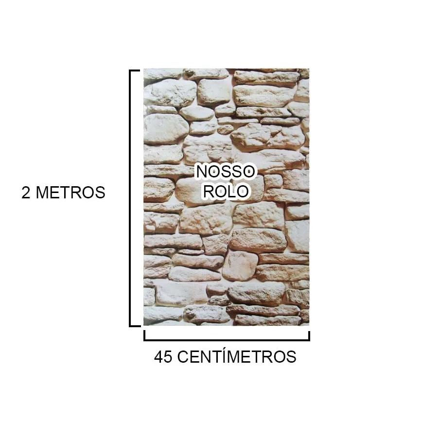 Papel de Parede Autoadesivo Vinilico Canjiquinha Pedra Rolo Lavavel Fosco Decorativo