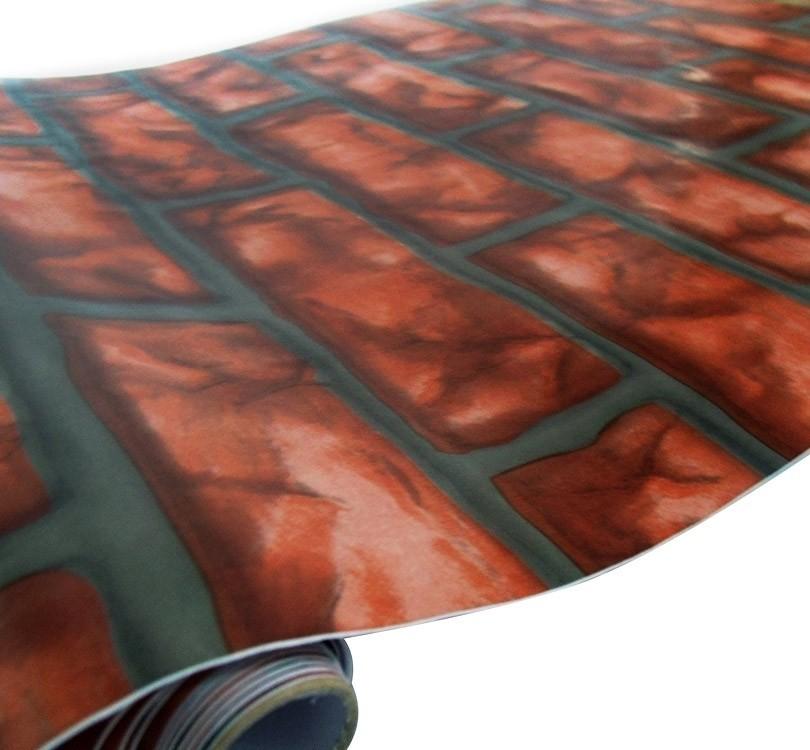 Papel De Parede Tijolinho Vermelho Rolo Vinil Decorativo Autoadesivo (BSL-42079-1-i)