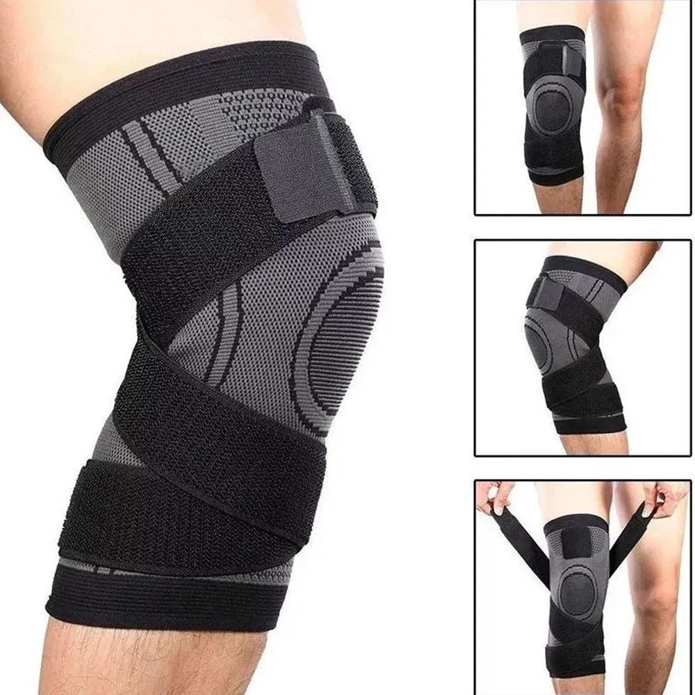 Par de Joelheira Elastica 3D Articulação Bandagem Compressão Exercício Joelhos Estabilidade Academia Apoio Suporte