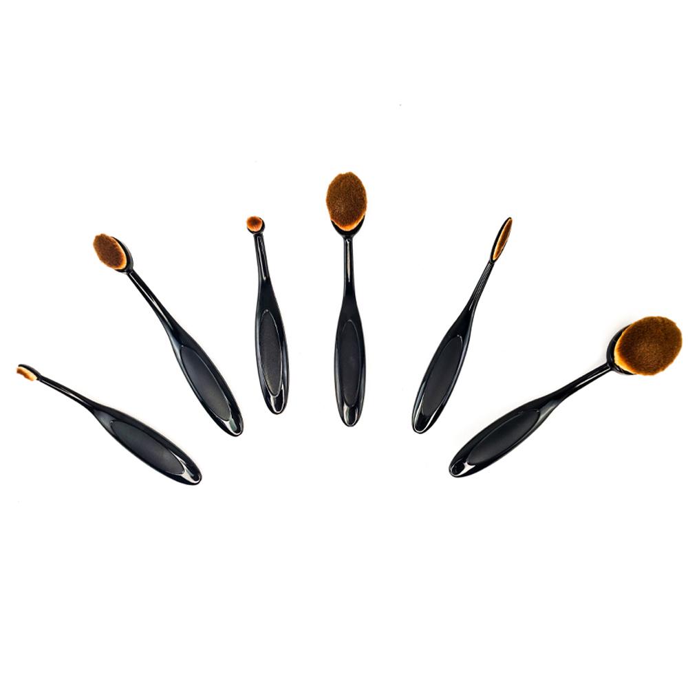 Pincel Maquiagem Profissional Oval Kit 6 Peças Escova Flexivel Creme Contorno Base Liquidos Corretivo