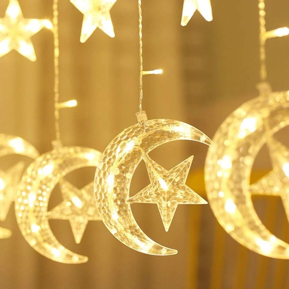 Pisca Pisca Lua Estrelas 138 LED Cortina Cascata Decoracao Janela Parede Natal Casamento Jardin Quarto Interno Externo