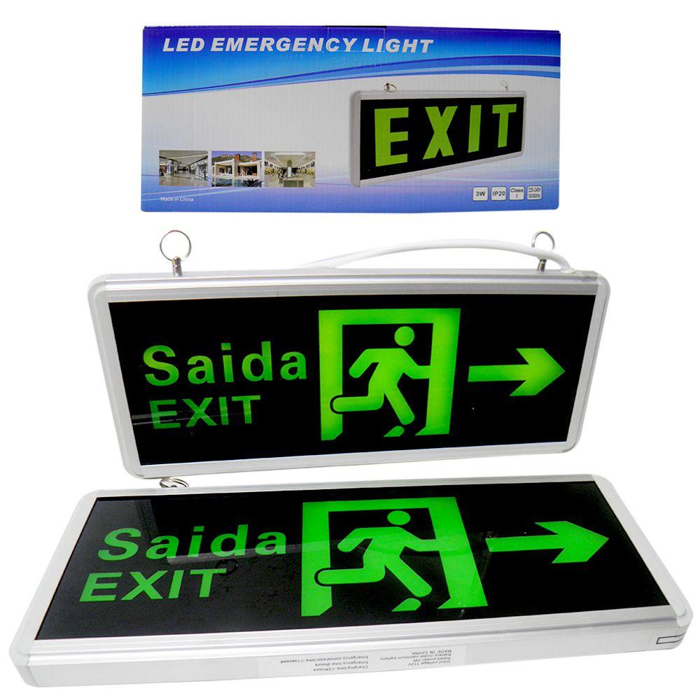 Placa de Saida Dupla Face Exit Sinalizaçao LED Bateria Emergencia