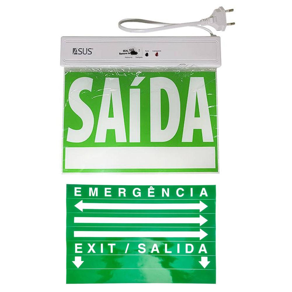 Placa de Sinalizaçao Saida Emergencia Lampada LED Bateria Recarregavel Luz Iluminaçao Empresa Casa