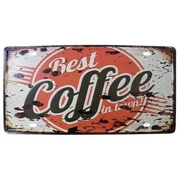 Placa Decorativa de Metal Alto-Relevo Vintage Retro Best Coffee