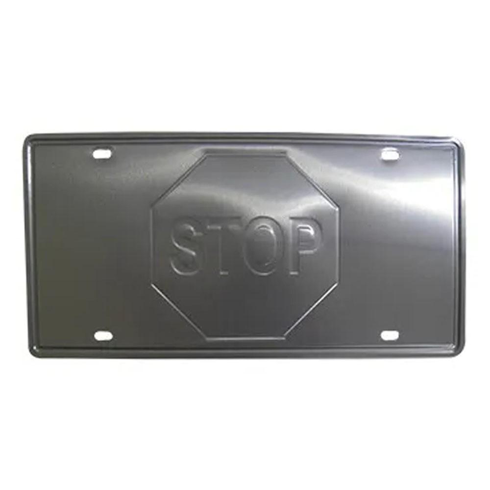 Placa Decorativa de Metal Alto-Relevo Vintage Retro Stop (93172)