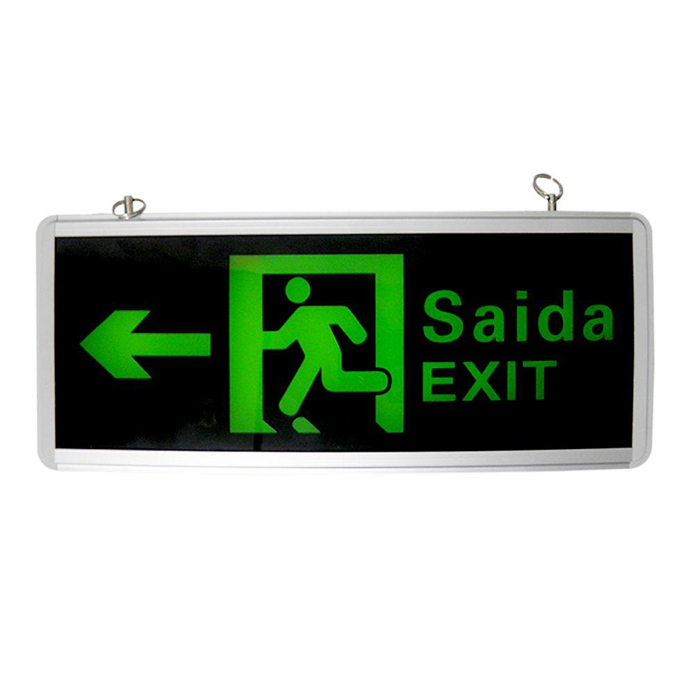 Placas de Sinalizaçao Saida Bateria Dupla Face Exit LED Emergencia Kit 2un.