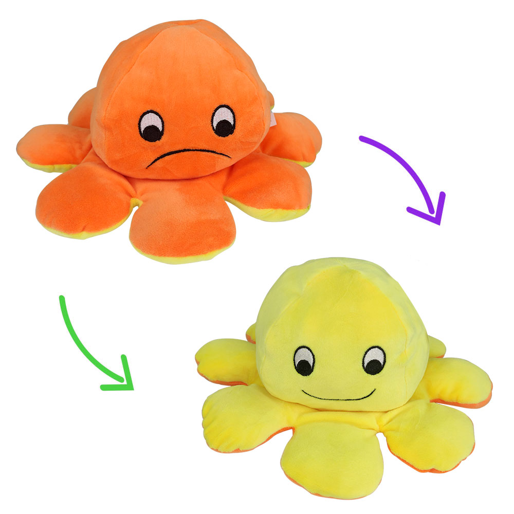 Polvo do Humor Pelúcia Reversível Feliz e Triste Crianças Almofada de Brinquedo