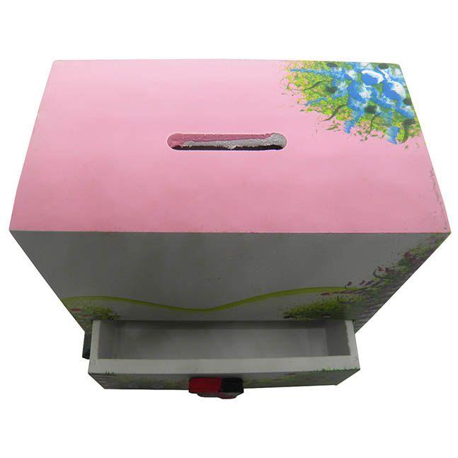 Porta Joias Brinco Bijuterias Mulher Cordao Organizador Cofre Branco Com Rosa (MAD-6679-3)