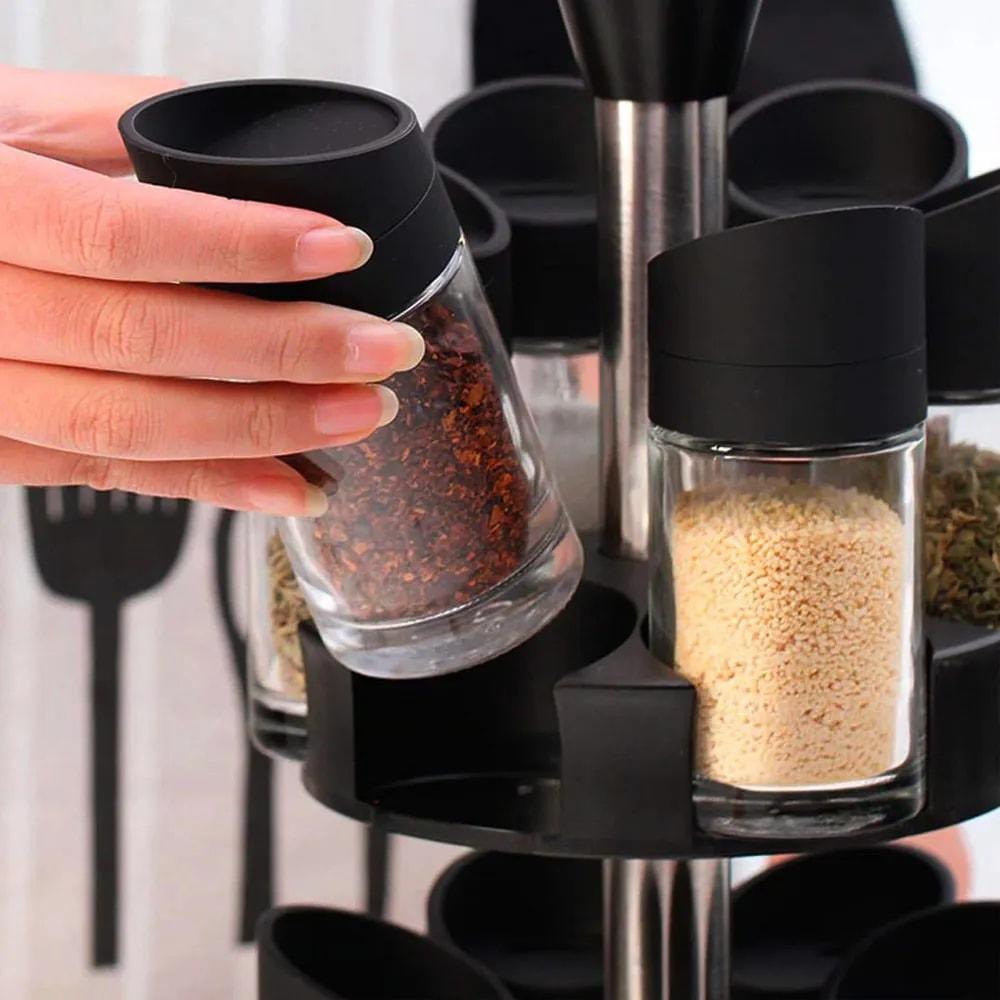 Porta Temperos Condimentos 12 Peças Suporte Giratorio Cozinha Casa Restaurante