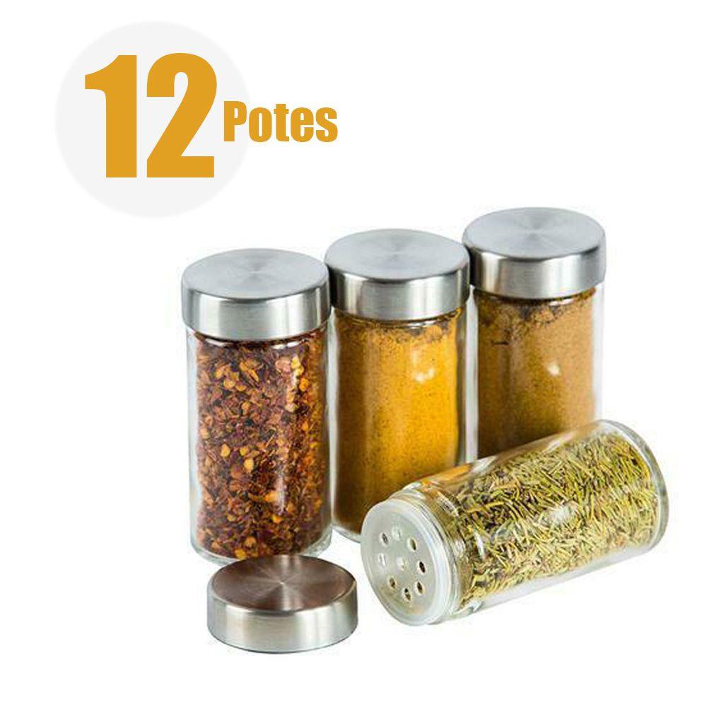 Porta Temperos Giratorio 12 Potinhos Condimentos Inox Vidro Restaurante Cozinha