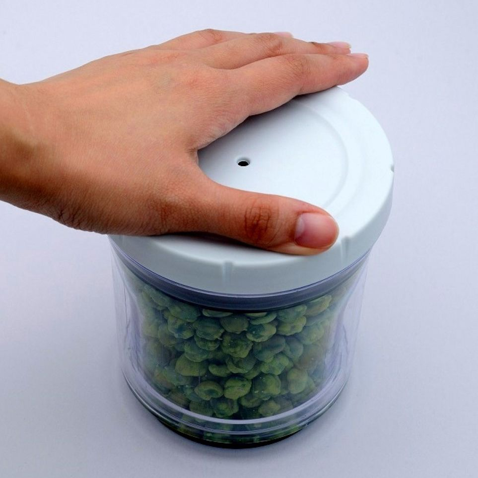 Pote Acrilico Conserva Vacuo Retratil Ajustavel Condimento Alimento Regulavel 2 em 1 Kit com 3