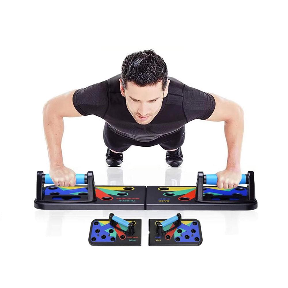 Prancha Para Flexão De Braço Exercício Musculação Fitness 9 em 1 Treino Livre Triceps Peito Costas Dobrável Apoio